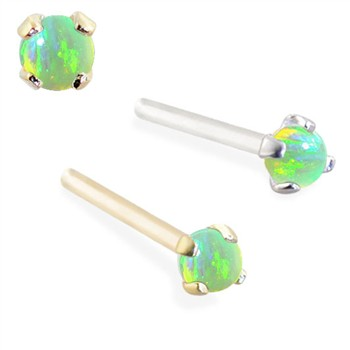 14K Gold Customizable Nose Stud with 2mm Round Green Opal