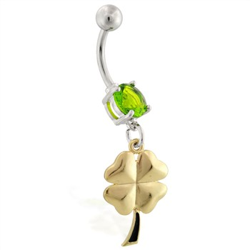Belly ring with dangling gold colored four leaf clover