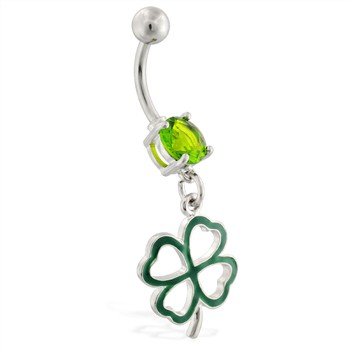 Belly ring with dangling four leaf clover