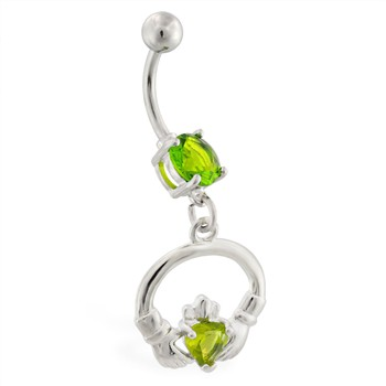 Belly ring with dangling jeweled claddagh