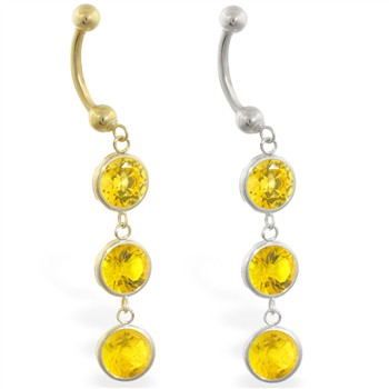 14K Gold belly ring with triple dangling round Citrine