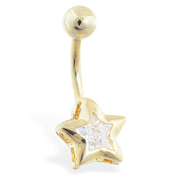 Gold Tone jeweled star belly ring