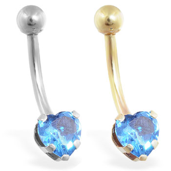 14K Gold belly ring with aquamarine 6mm CZ heart