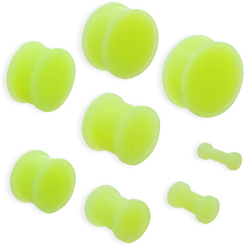 Pair Of Flexible Glow In The Dark Silicone Double Flared Plugs