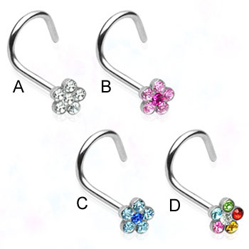 Stainless steel nose screw with jeweled flower, 18 ga
