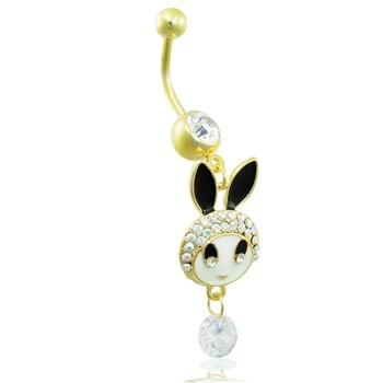 Gold Tone belly ring with dangling jeweled bunny