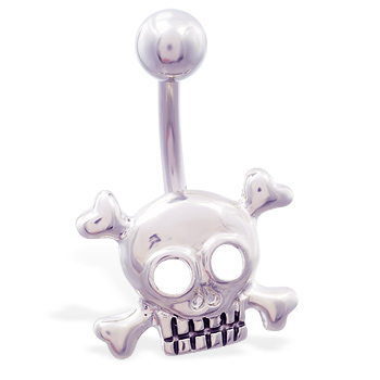 Steel skull belly button ring