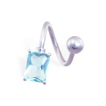 Twister barbell with light blue stone, 14 ga