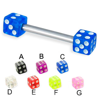 Straight barbell with acrylic dice, 16 ga