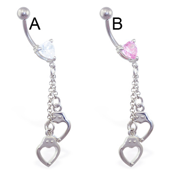 Jeweled heart belly ring with dangling heart handcuffs