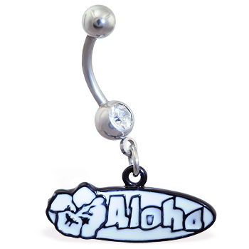 "Jeweled Navel Ring with Dangling ""Aloha"" Sign"