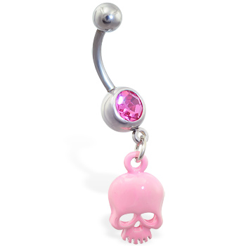 Jeweled belly ring with dangling pink skull