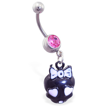 Jeweled navel ring with dangling pink and black girly skull