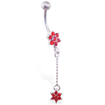 Red flower belly ring with dangling jeweled flower