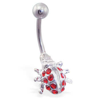 Red jeweled ladybug belly ring