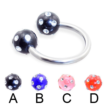 Circular barbell with multi-gem acrylic colored balls, 14 ga