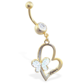 "Gold Tone belly ring with dangling heart with jeweled butterfly and engraved ""Love"""