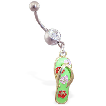 Navel ring with dangling green flipflop with flowers