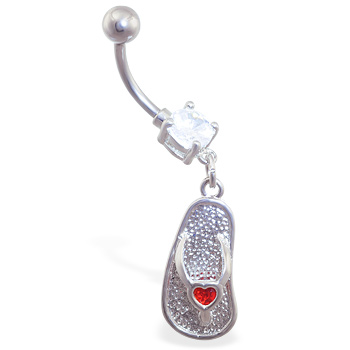Navel ring with dangling flipflop with small jeweled red heart