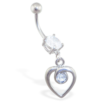 Belly Ring with Dangling Jeweled Looped Heart