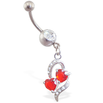 Navel ring with dangling red jeweled hearts within a heart