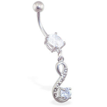 Belly ring with jeweled swirl dangle with gem