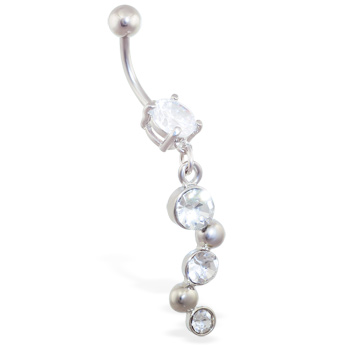 Jeweled navel ring with triple CZ bubbly dangle