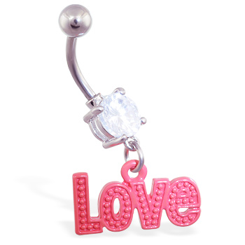 "Jeweled belly ring with dangling red ""Love"""