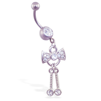 Navel ring with dangling jeweled bow and dangles