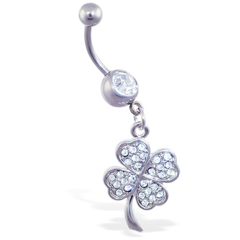 Belly ring with dangling jeweled clover