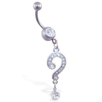 Navel ring with dangling jeweled loop and gem