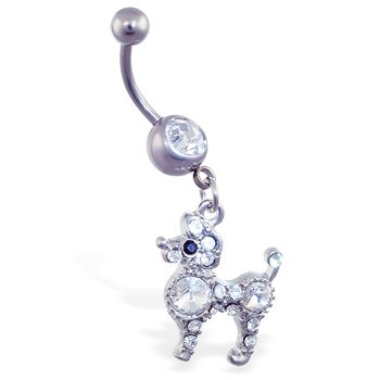 Belly ring with dangling jeweled poodle