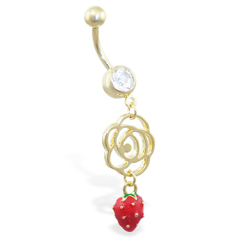 Gold Tone belly ring with dangling rose outline and strawberry