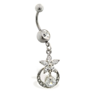 Navel ring with dangling flower and circle