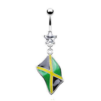 Belly ring with dangling Jamaican flag