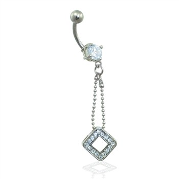 Belly ring with chain and diamond shaped dangle