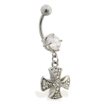 Navel ring with dangling jeweled celtic cross