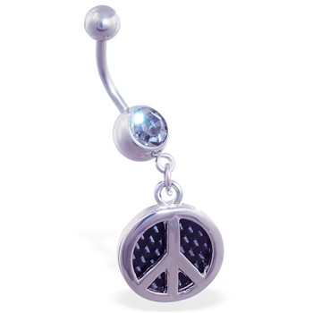 Navel ring with dangling carbon fiber peace sign