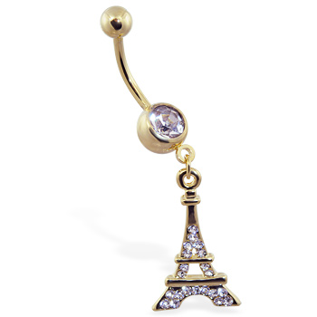 Gold Tone navel ring with dangling Eiffel towel