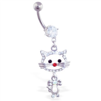 Navel ring with dangling cat