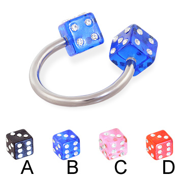 Jeweled acrylic dice circular barbell, 14 ga