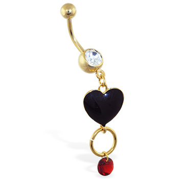 Gold Tone belly ring with dangling black heart, circle and red gem