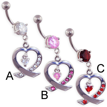 Jeweled navel ring with heart dangle