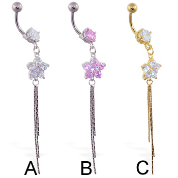 Jeweled navel ring with dangling flower and chains