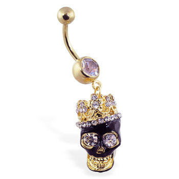 Gold Tone belly ring with dangling jeweled crowned black skull
