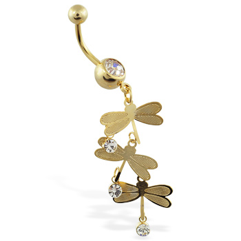 Gold Tone jeweled belly ring with triple dragonfly dangle