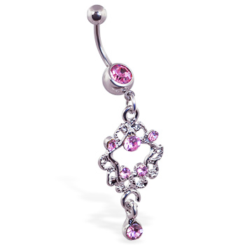 Jeweled navel ring with jeweled star dangle