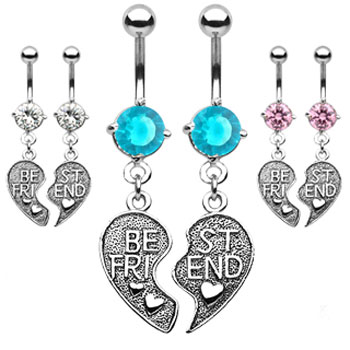 "Pair of ""Best Friend"" heart charm pendant belly rings"