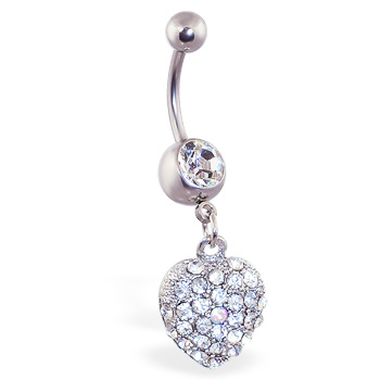 Jeweled navel ring with dangling paved heart