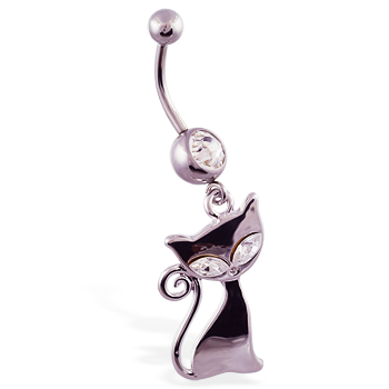 Navel ring with dangling jeweled steel cat